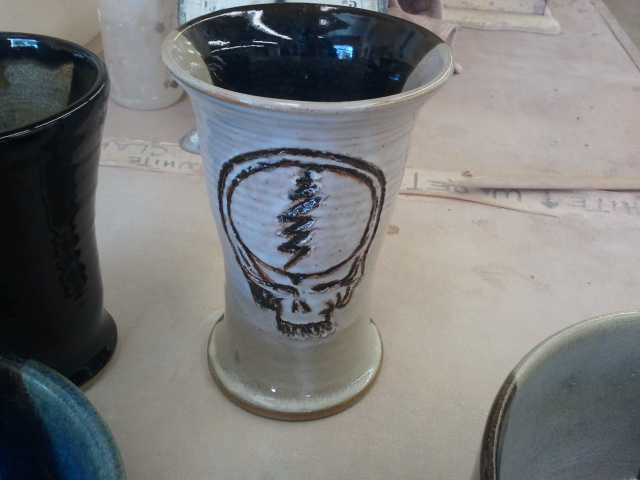Grateful Dead Goblet - black/white glaze