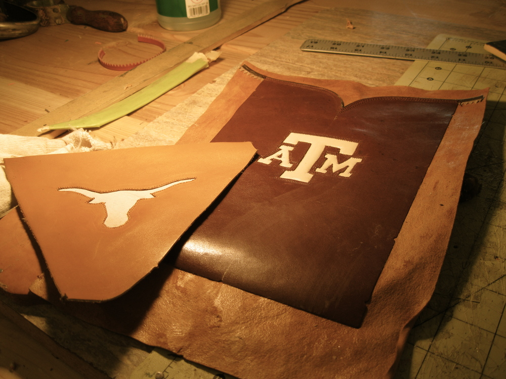 UT and A&M inlays. Personalize your boots with custom inlay of cattle brand school logo or whatever you desire