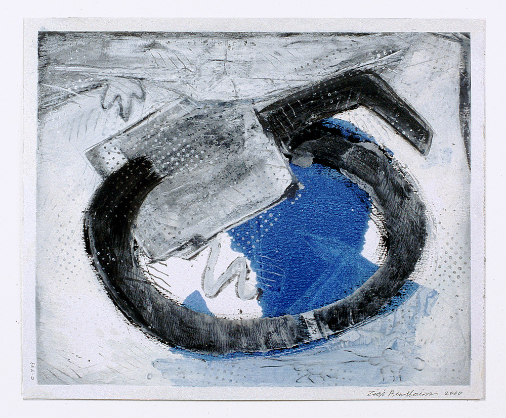 "Untitled from Blue Highway series     2000   Alkyd and graphite on paper  17"" x 14""  (C-733)"