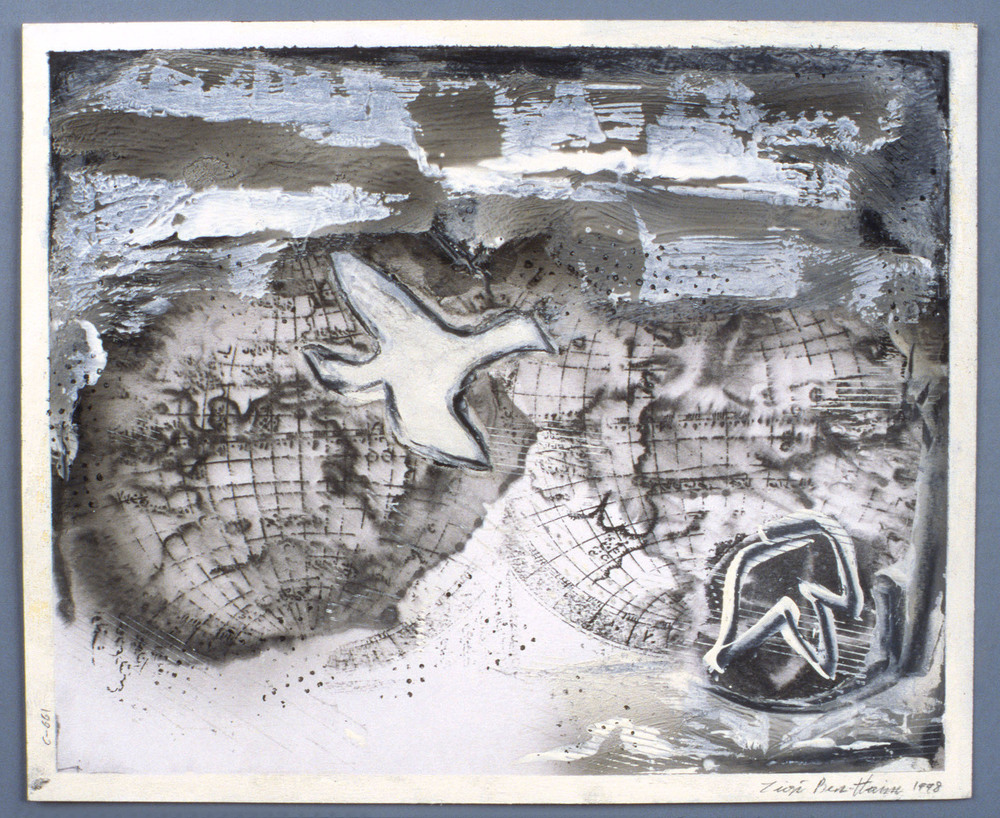 "Untitled    1998   Alkyd, graphite, and collage on paper  17"" x 14""  (C-661)"