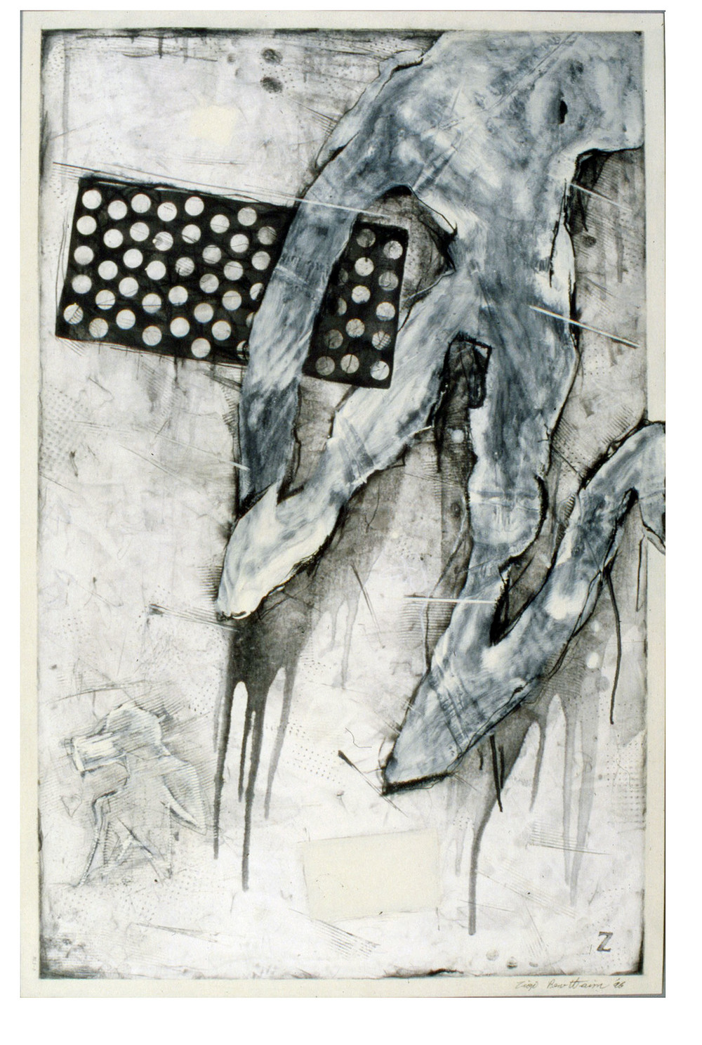 "Untitled    1996  Alkyd and graphite on paper  26"" x 40""  (C-536)"