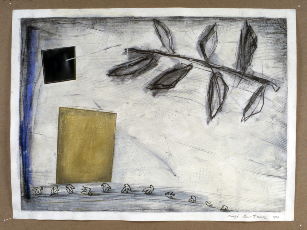 "Untitled    1996   Graphite and oil on paper  24"" x 18""  (C-451)"