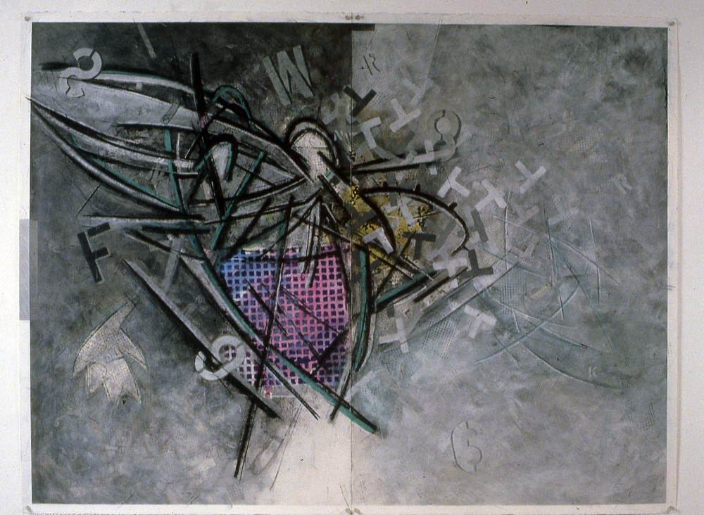 "Untitled from Monadnock series    1990   Graphite, pastel, pigments, and latex on paper  63"" x 47.5""  (C-232)"