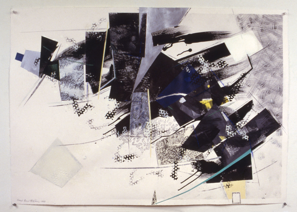 "Round Trip to Fishkill 62    1988   Synthetic charcoal, oil stick, and acrylic on paper  41.5"" x 29.5""  (C-164)"