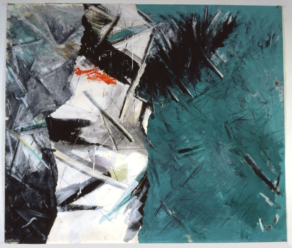 "Untitled    1986   Synthetic charcoal, oil stick, and acrylic on paper  47"" x 40""  (C-85a)"