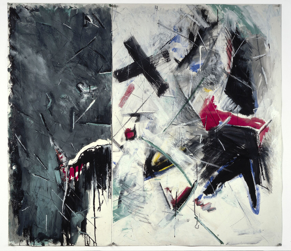 "Untitled    1987   Synthetic charcoal, oil stick, and acrylic on paper  45"" x 39""  (C-72)"
