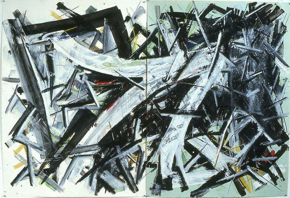 "Delimited Area    1985   Watercolor, Oil Stick, and Pastel on Paper  80"" x 54""  (C-33)"