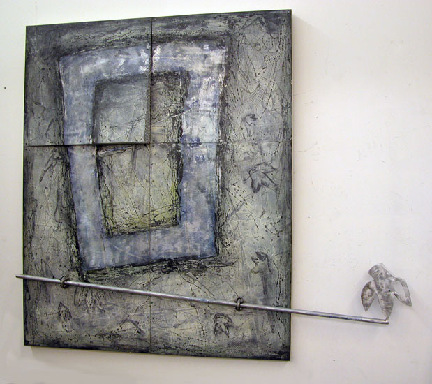 "Outside Neighbor     1996  Oil, Steel, and Wire Mesh on Aluminum  63"" x 73"" x 4""  (AL-305)  Private Collection"