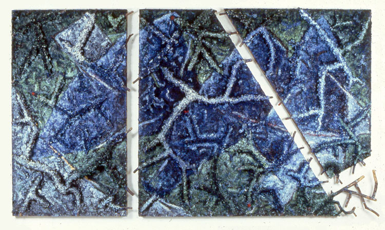 "Night Touch     1984  Acrylic and Branches on Wood  80"" x 154"" x 12""  (L-3)  Frederick Weisman Foundation Collection, Los Angeles, CA"