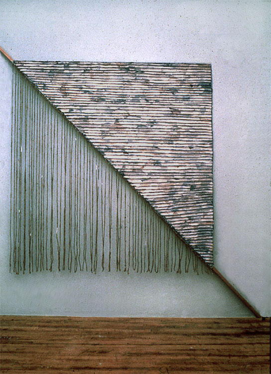 "Falling Free     1976  Paper, Gauze, Ropes, and Wood  108"" x 84""  (S-11)"