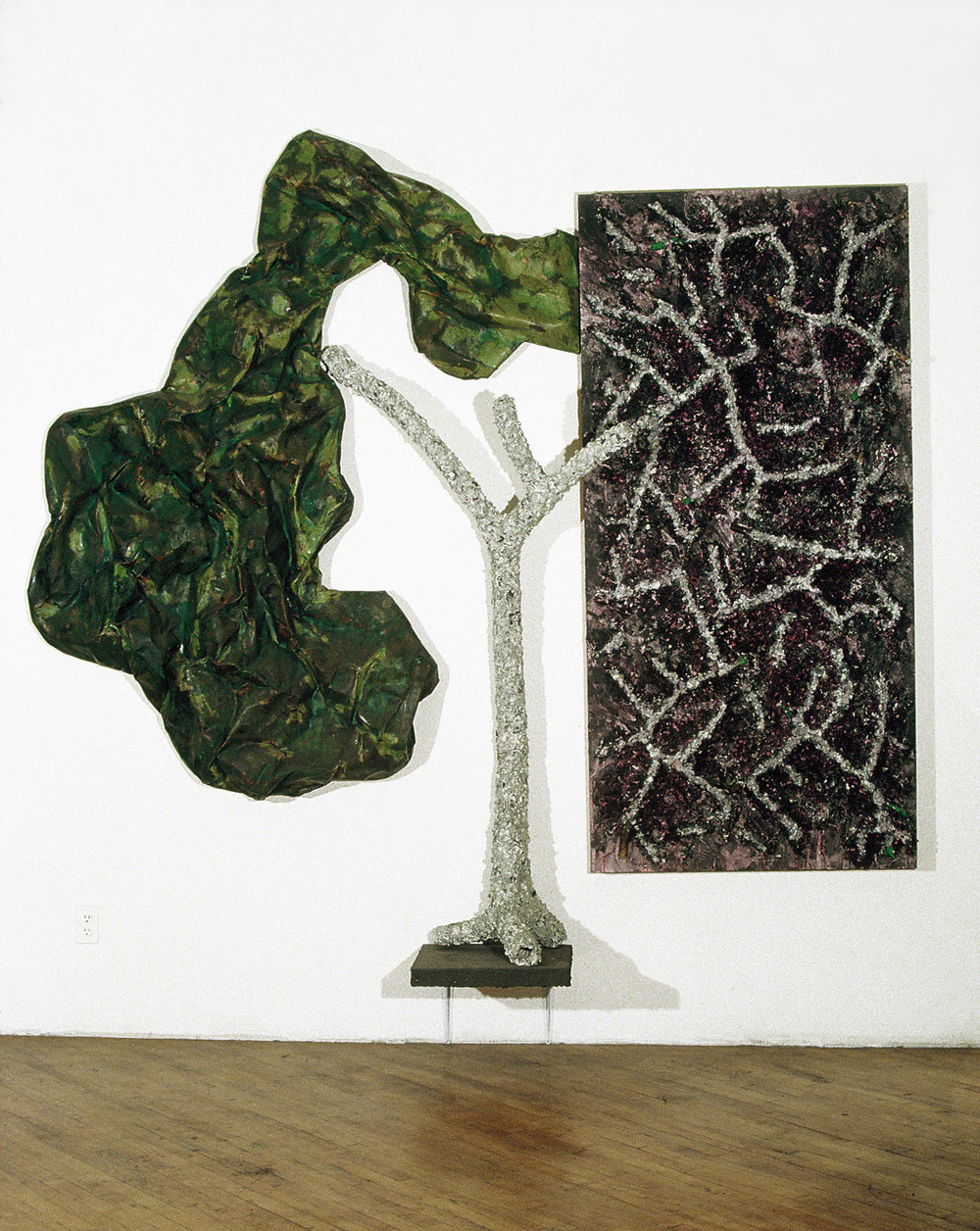 "Drooping Crest    1983  Branches, Paper, and Pigments  96"" x 104"" x 16""  (L-12)"