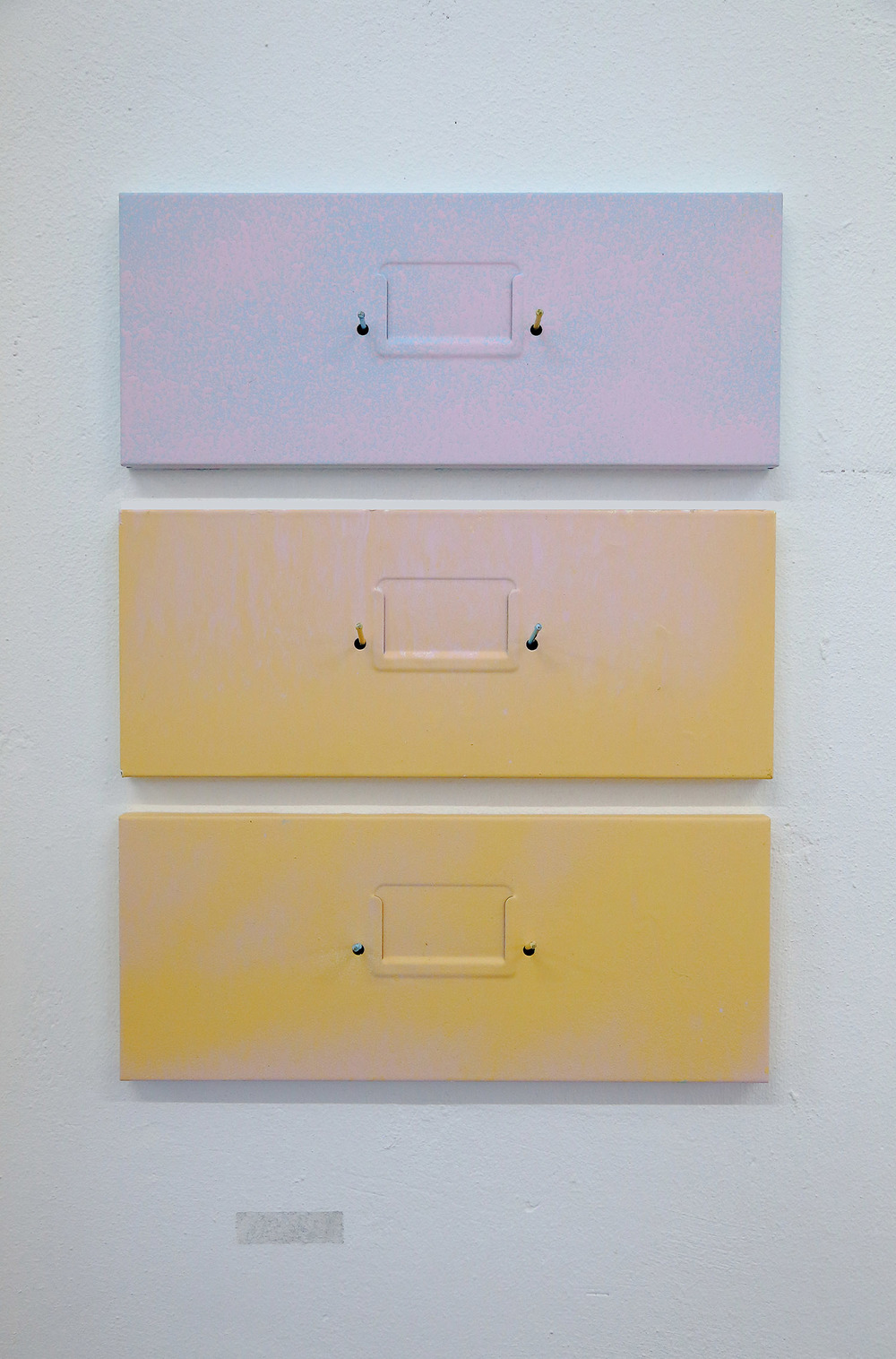 Compartmentalising the S(h)elf Part 1(b): 3 Way Split / Sunset Strip     3 x acrylic painted panels, nails, sticky tape imprint     Installation view