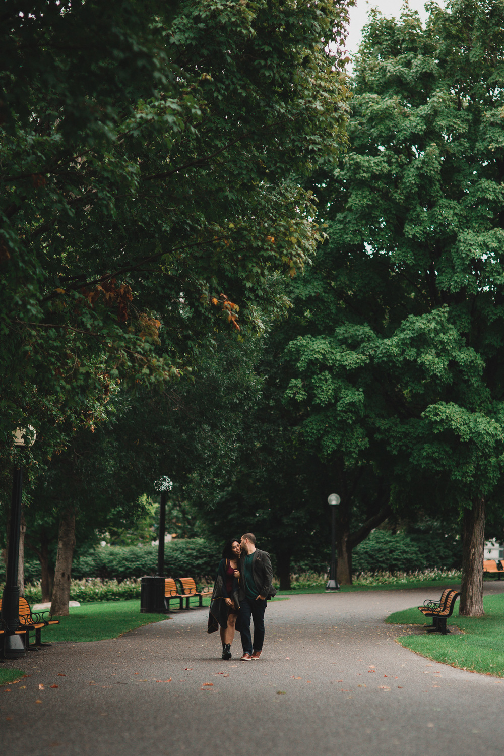 Rainy Downtown Engagement Photos