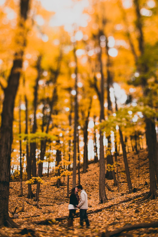fall engagement photography tilt shift