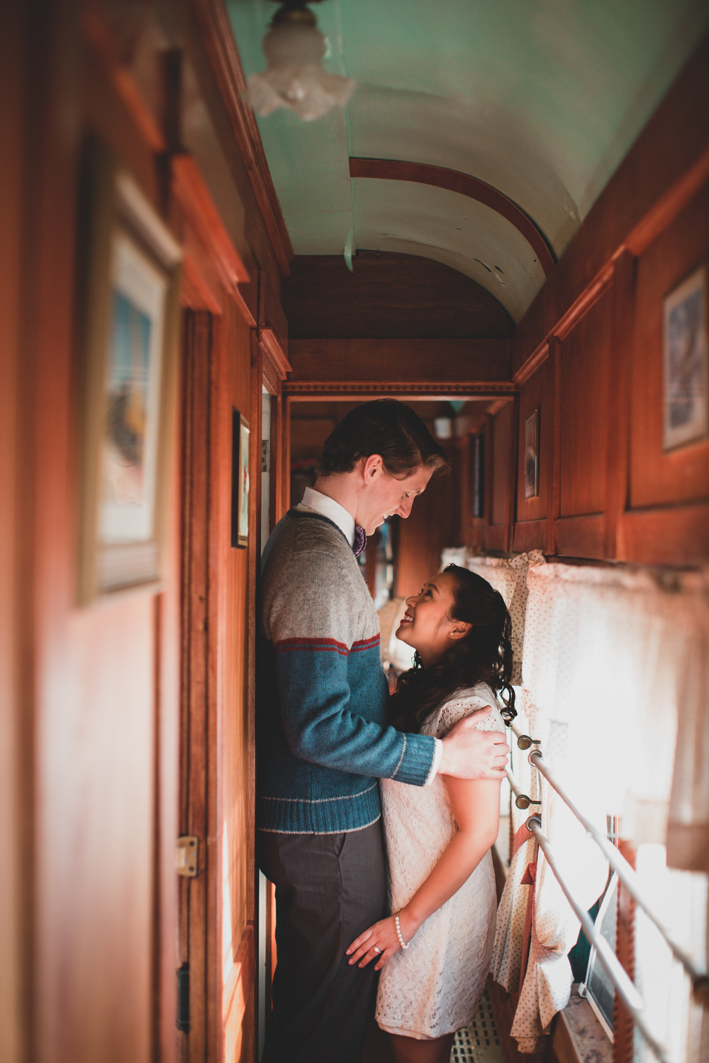 Engagement session inside old train