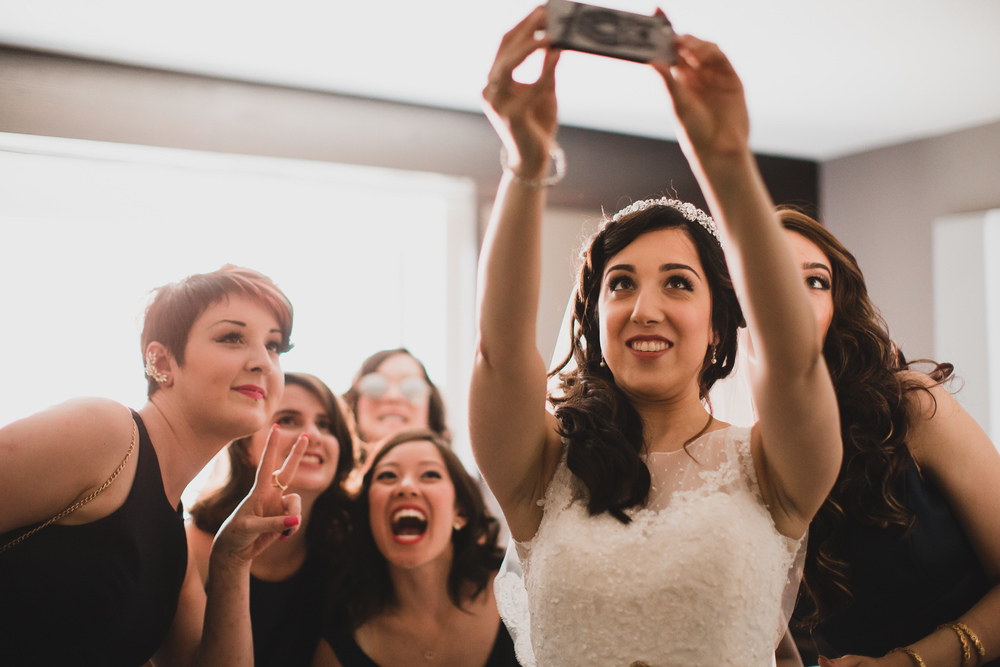 Bride taking a Selfie Wedding Day
