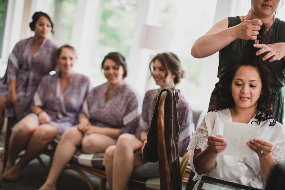 Candid wedding photography, getting ready