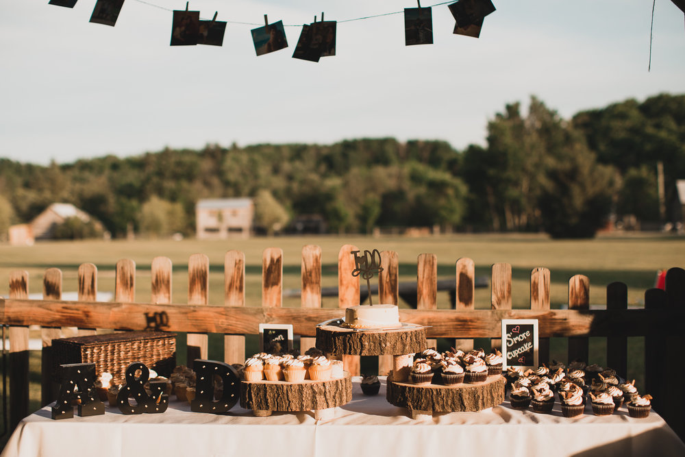 Rustic cupcake table wedding