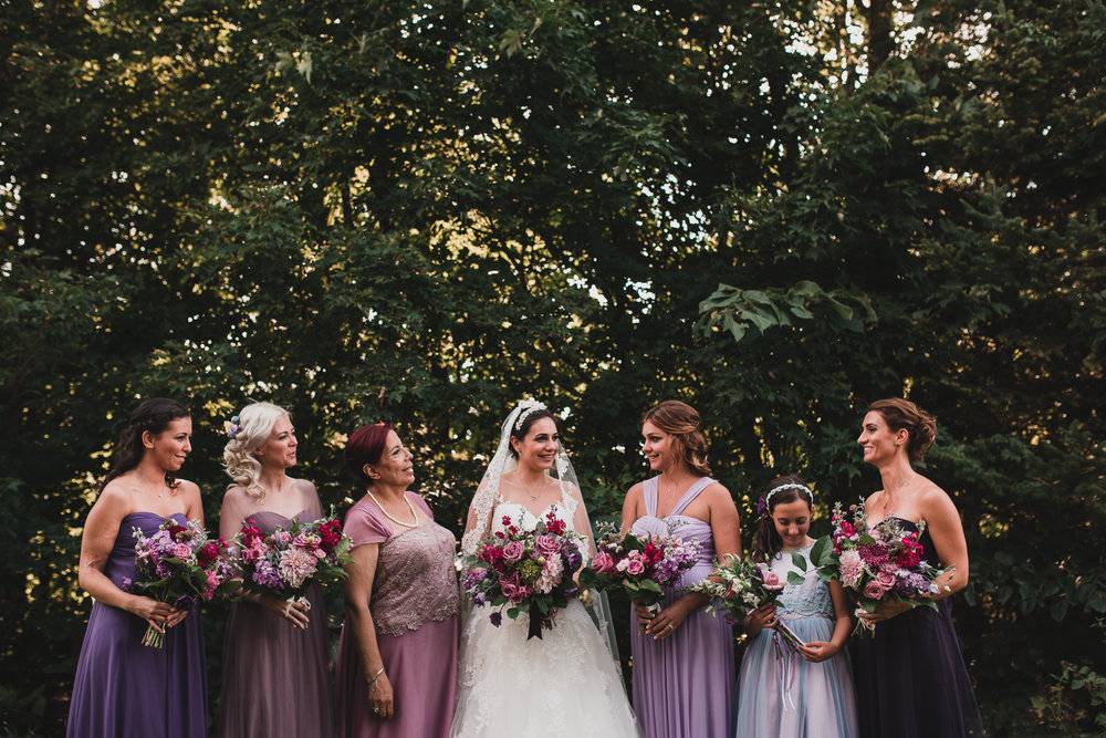 Bridesmaid dresses, different shades of Purple