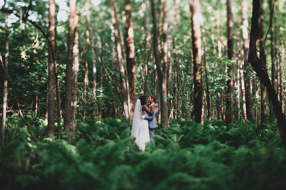 wedding portrait in the woods