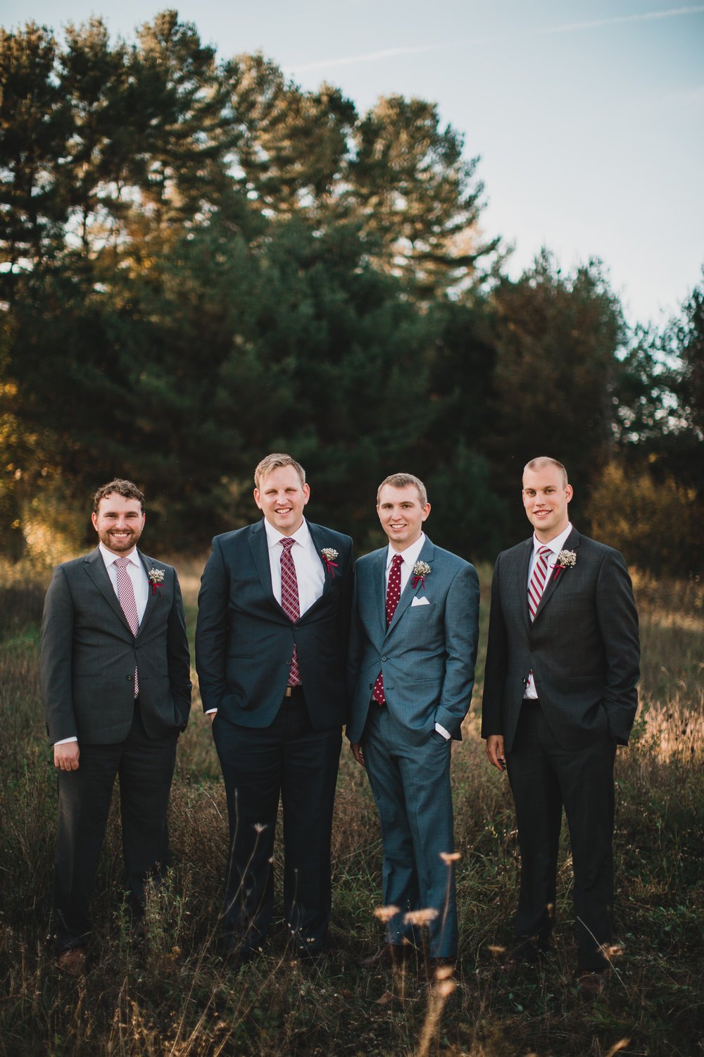 Fall Wedding, Mismatched Grey Suits