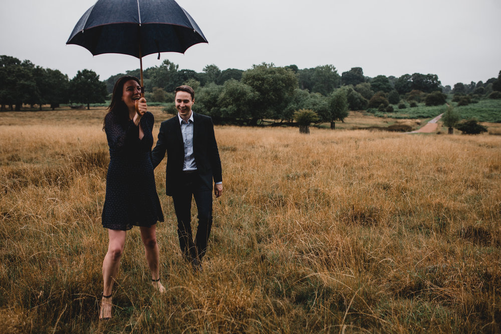 Rainy English Engagement Photos