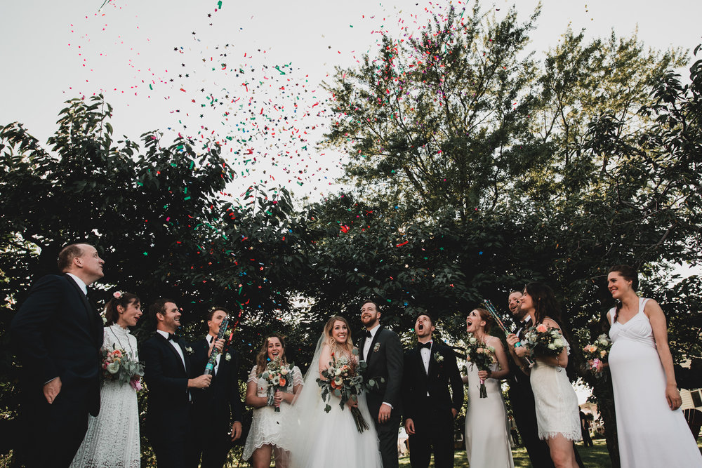 Confetti, Wedding - Bride, groom portrait