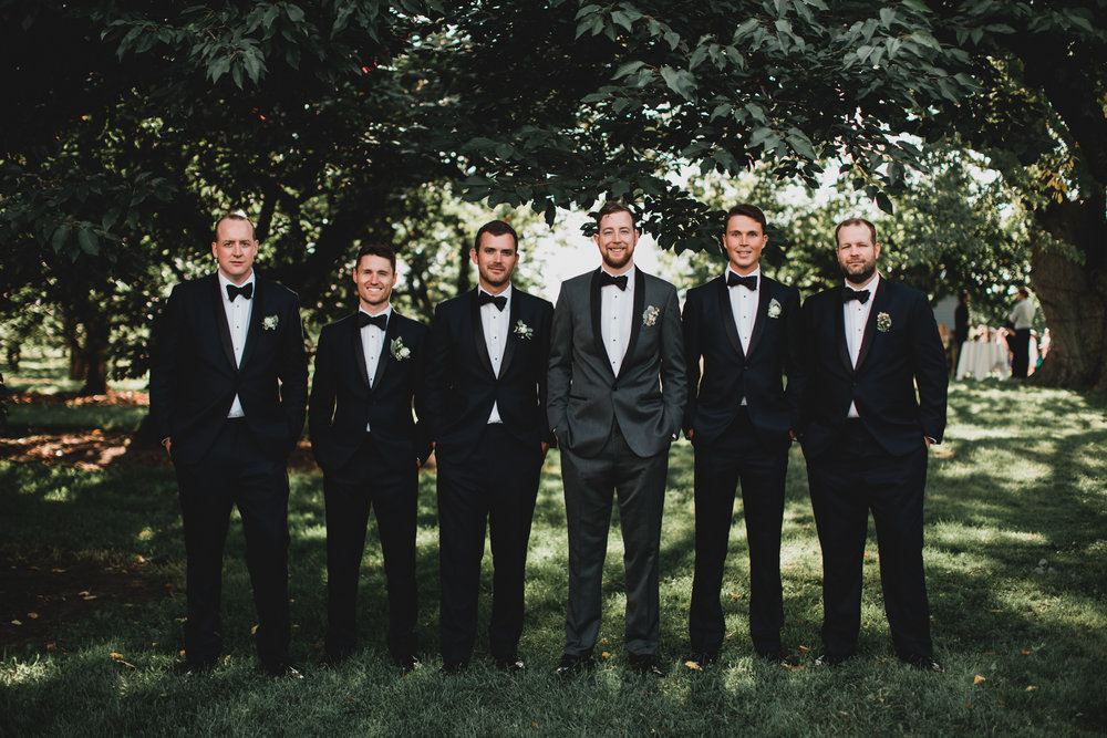 Groomsmen outfits, black tuxedos