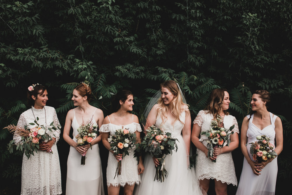 White bridesmaid dresses mismatched