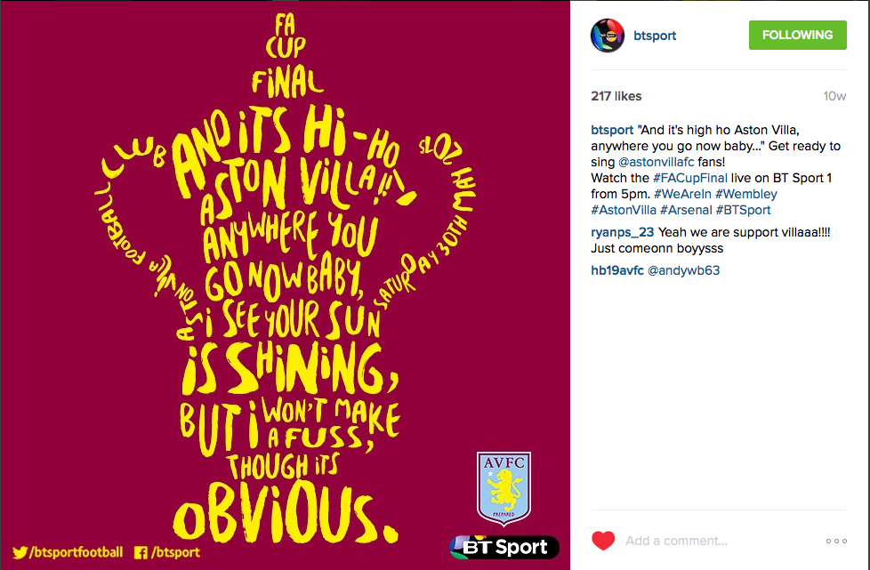 BT Sport's Instagram Post