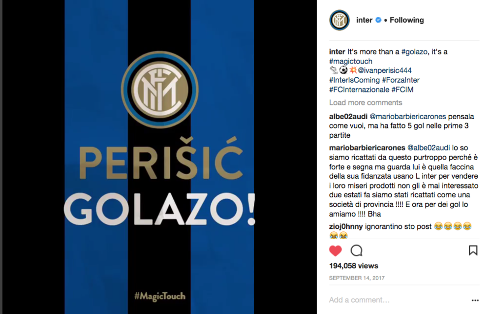 The video was another popular post with Inter fans on Instagram, seeing just under 200k views. It shows the power of using creativity to re-purpose existing footage in a new and appealing way.