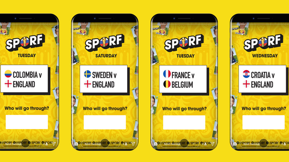 Insta Story versions of the wall chart, created each day as the tournament progressed to keep SPORF followers up to date on each fixture. The images were used in conjunction with Instagrams poll feature to give fans the chance to vote for their preferred winner. Images gained over 1 million views at peak time.