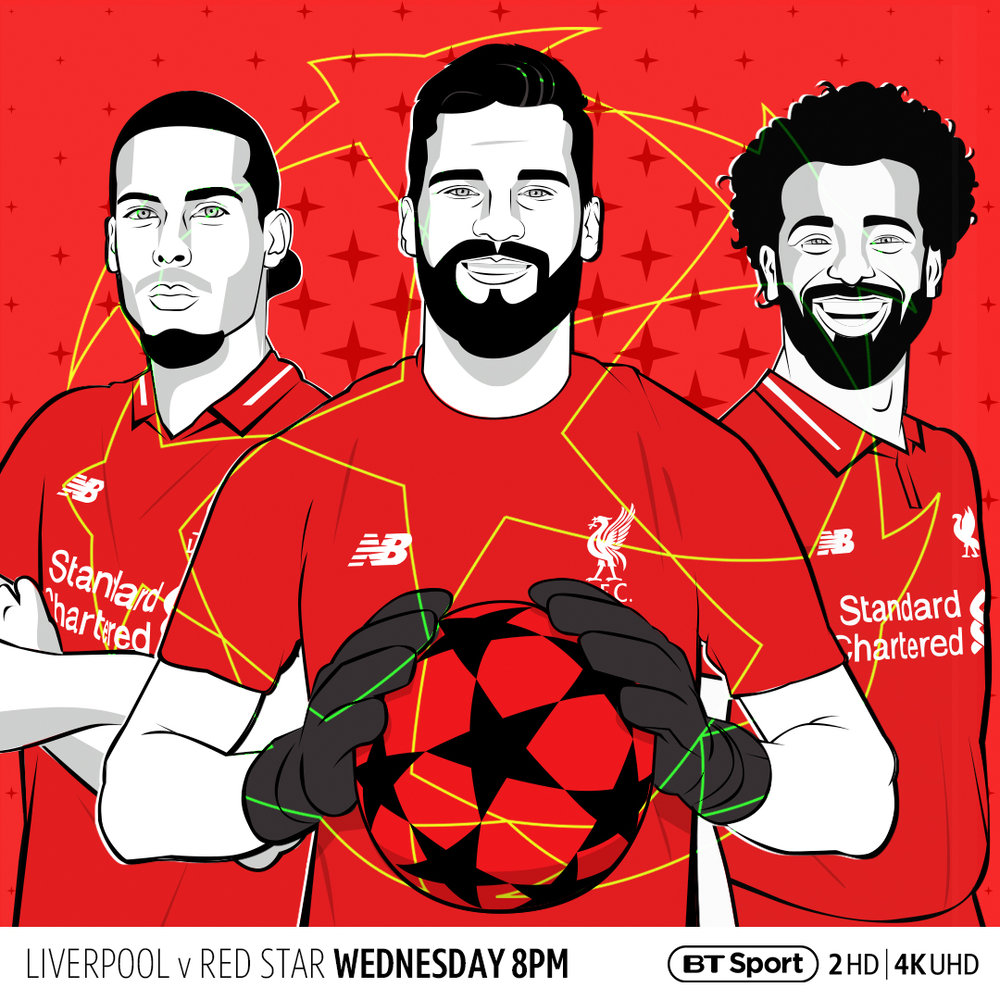 This design is entitled RED STARS v RED STAR and depicts 3 of Liverpools biggest names as the club face Red Star Belgrade in a tricky home match on Matchday 3 of the Champions League.