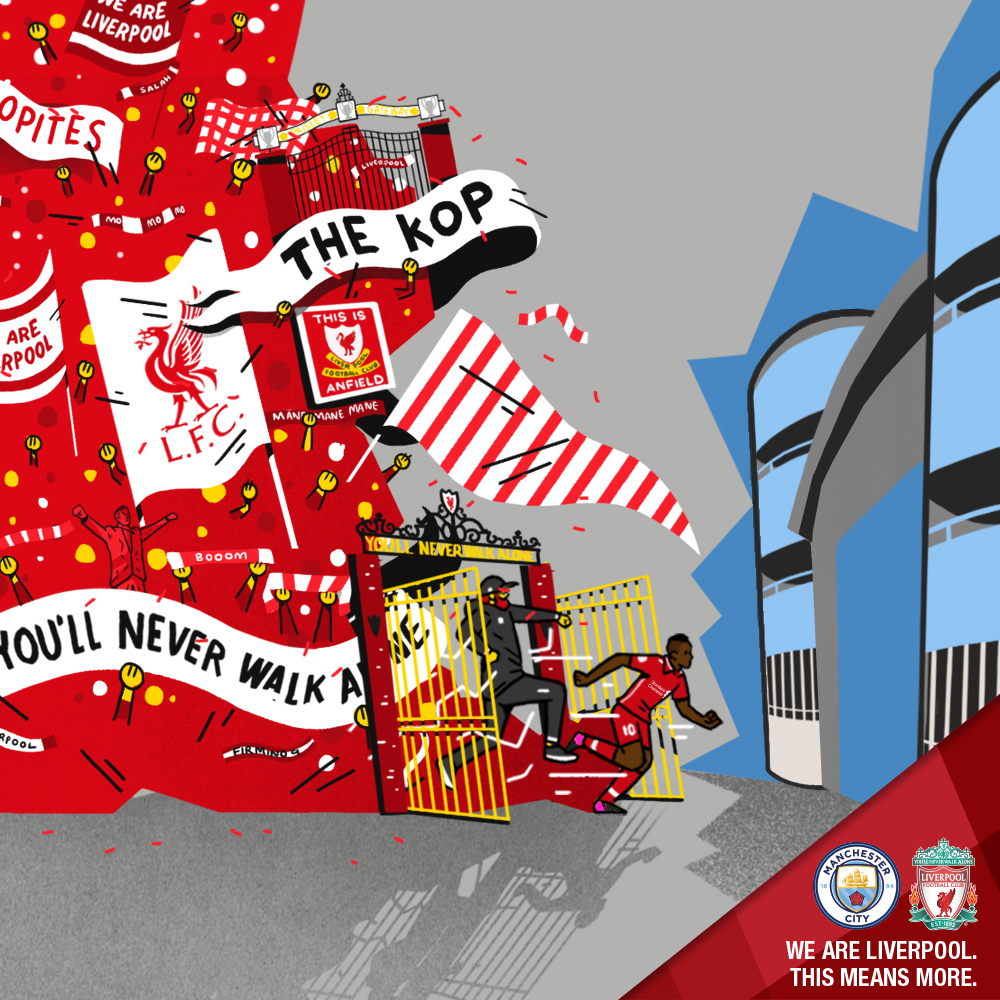 Man City v LFC   The second graphic in the series was used in the build up to one of the most anticipated fixtures in the 2018/19 calendar. Liverpool traveled to Man City, with both teams enjoying a stellar season. Barrilete Cosmico produced this piece, with art direction from myself. The design focused on the idea that despite this being an away match, the Reds would go into the fixture with the full support of the traveling Kop behind them.