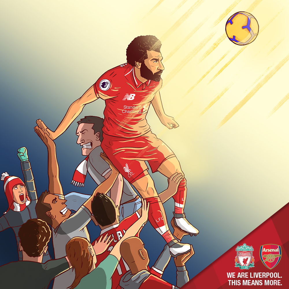 LFC v Arsenal   As Liverpool's impressive season continued, Arsenal came to Anfield in a match that ended 5-1 to the home side. Dan Leydon illustrated this piece, which was based around the idea of the Anfield crowd being the 12th man as the supporters aimed to urge the LFC players on to victory in this crunch encounter.