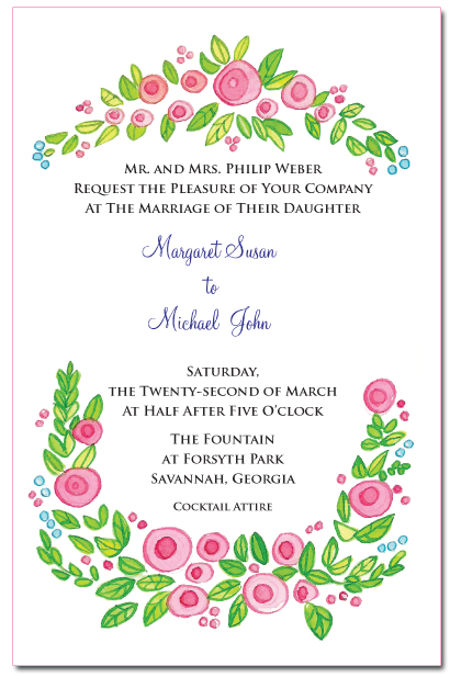The inside of Margaret's invitation.