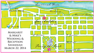The front of the reception map card.