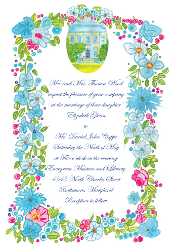 Elizabeth's wedding invite - with cat.