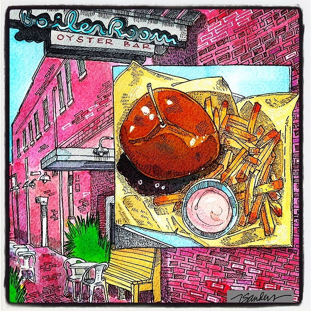 Eats &Paints:Travel, Food & Art - This is a new series of food illustrations,starting in our own back yard of Eastern North Carolina...These are restaurant travels and the meals we have traveled to enjoy .This is a K-Town BLT Burger from Vivian Howard's Boiler Room Oyster Bar in Kinston, NC. The Boiler Room is next door to the world-famous Chef and The Farmer restaurant. Be sure to have the Bloody Mary, too. It is worth the drive.And there are oysters, too. Yumsters!Menu description:
