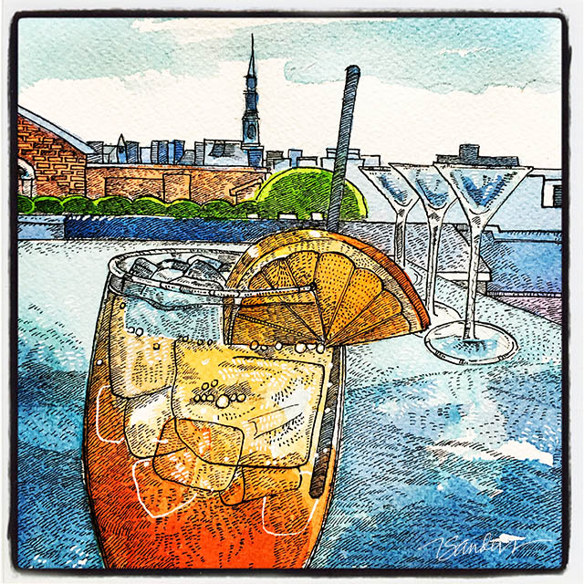Eats & Paints: Travel, Food & Art. A very groovy Aperol Spritz at the Best Rooftop Bar in Charleston, SC,  The Rooftop  at  The Vendue . Deelish Pimm's Cup, too. 19 Vendue Range, Charleston, SC.   www.thevendue.com    #watercolor   #aperolspritz   #cocktails   #view  #charleston   #onthetable    #illustration   #friday   #artoftheday    #arthotel    @TheRooftopatTheVendue