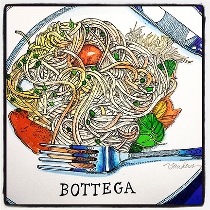 bottega - Bottega, micro-regional Italian cuisine. With an extensive wine list. Of course! This is Spaghetti Gragnano alla Sophia Loren.Bottega Napa Valley, V Marketplace, 6525 Washington St, Yountville, CA botteganapavalley.com