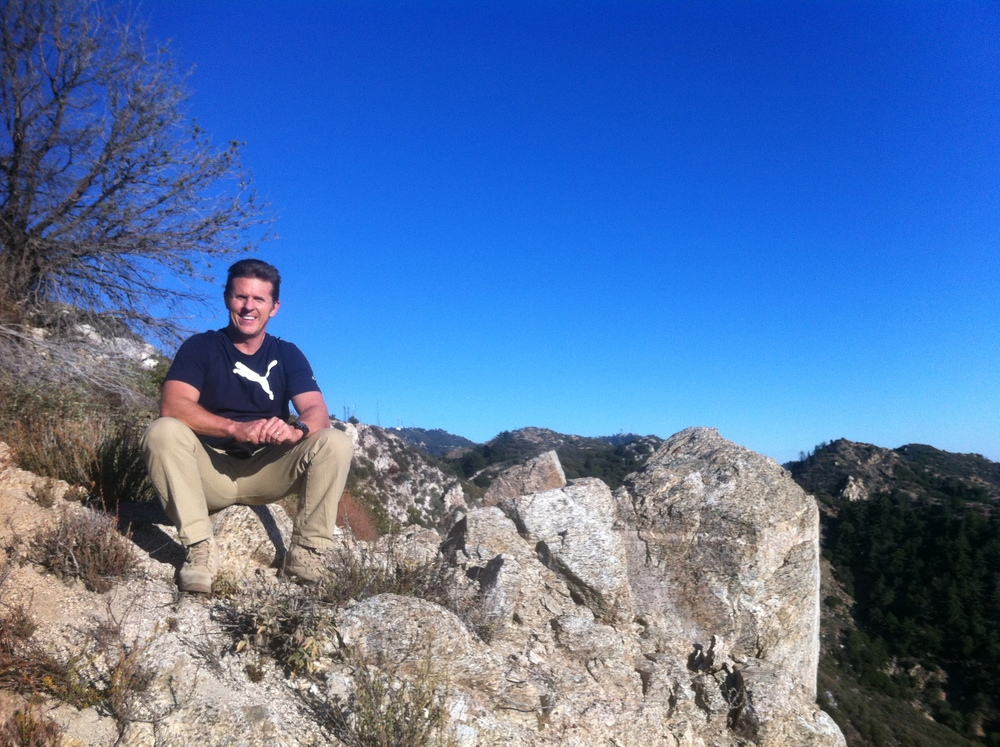 Me, hiking up near Mt. Wilson in the San Gabriel Mountains. (I often escape to these mountains above Altadena, to recharge.)