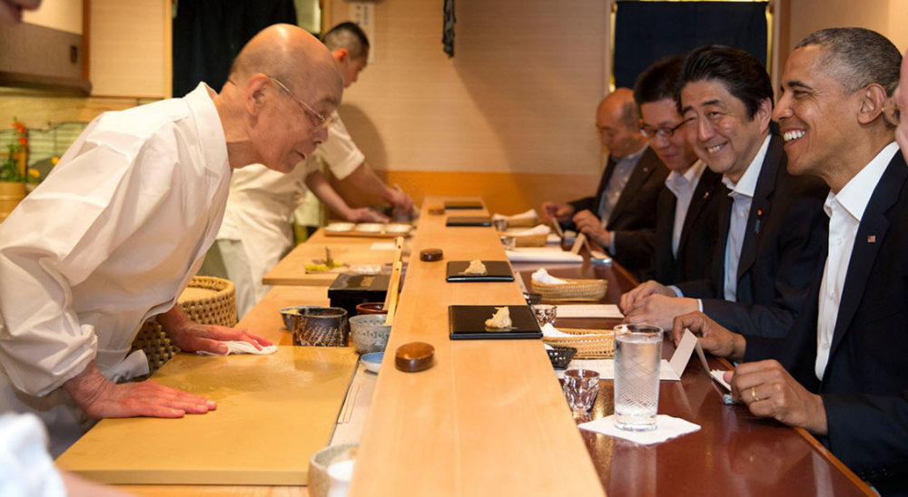 Jiro Ono, Prime Minister Shinzo Abe, and President Obama