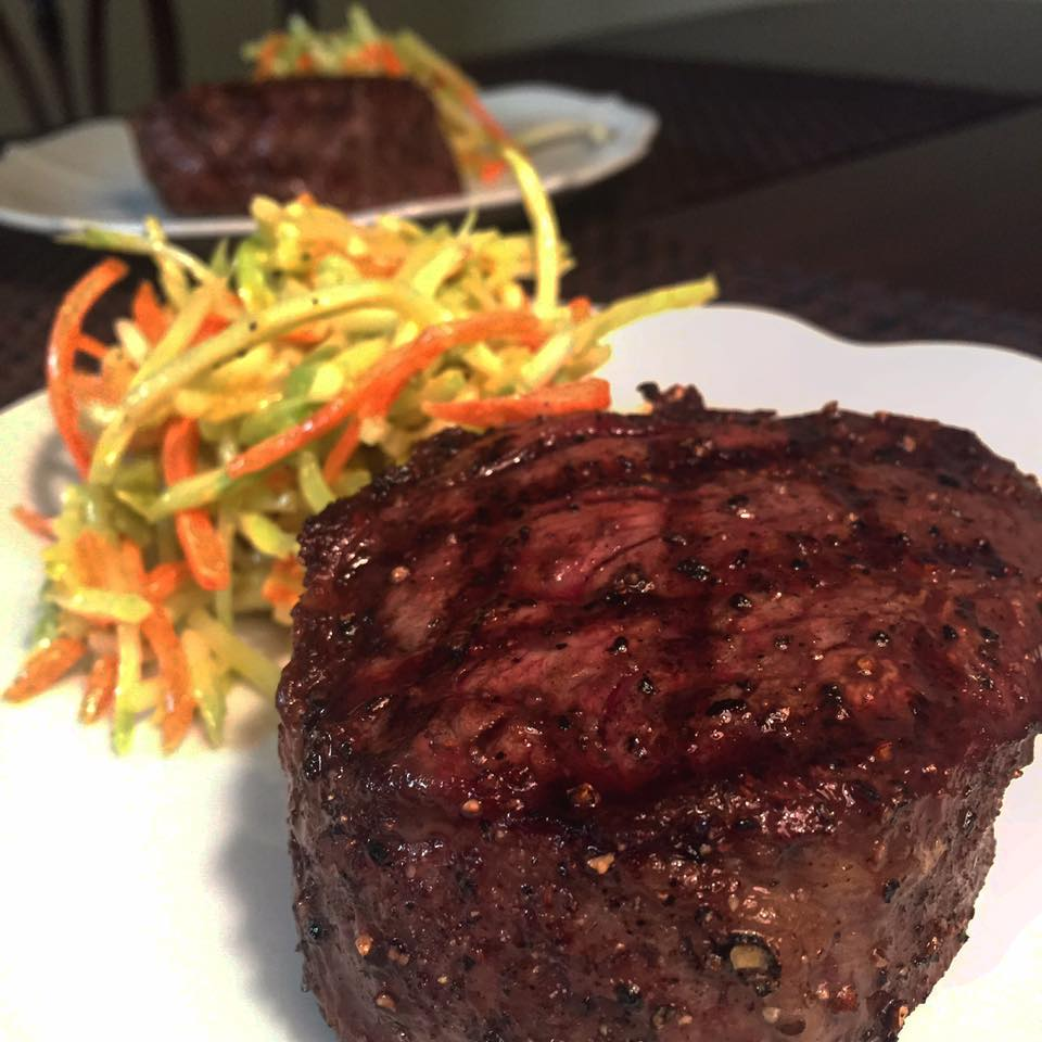 Paleo recipe...Dry aged ribeye with a side of broccoli slaw!