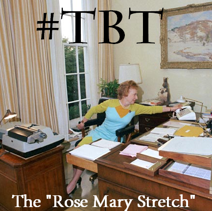 Rose Mary Woods demonstrating how she inadvertently erased 5 minutes of a tape dated June 20, 1972.