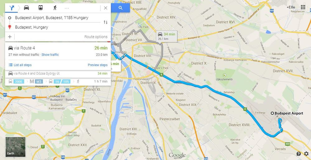 These directions were pulled on a Tuesday night at 7:20PM EST (1:20AM CEST time in Hungary)