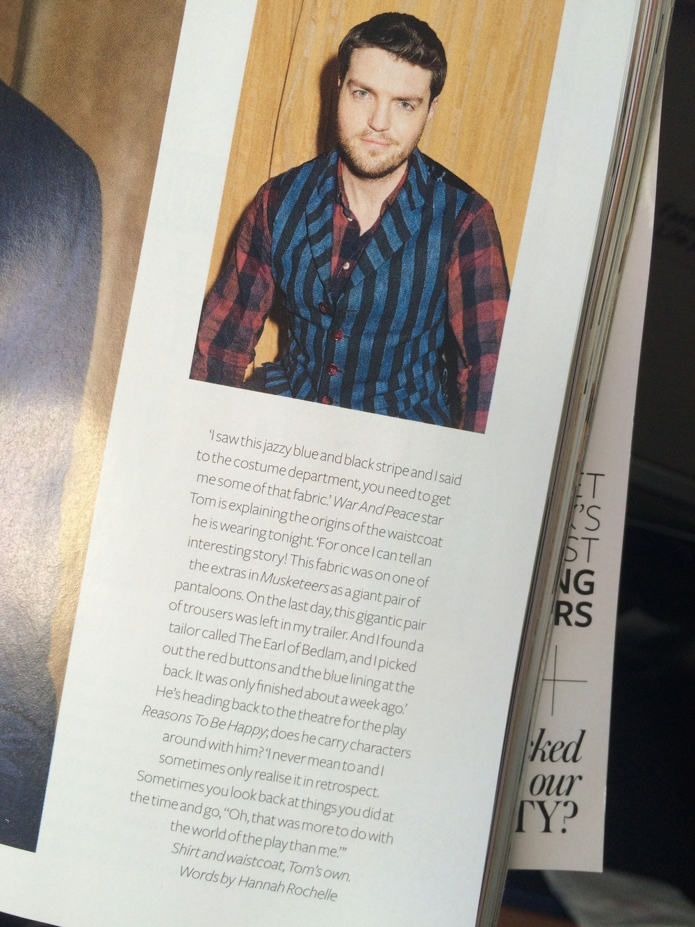Actor Tom Burke / InStyle Magazine, January 2016