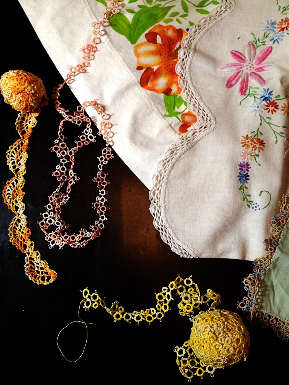 Hand painted pillowcase, embroidered pillowcase, handkerchief with tatting edging . -Irene Mestmaker circa 1940 & Peggy Goza circa 1973