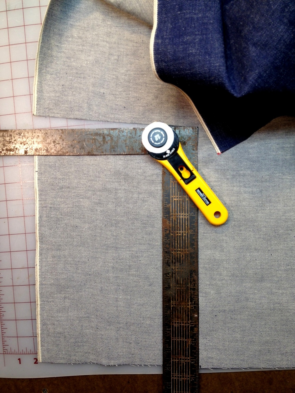 Cutting Denim for Attache' Case
