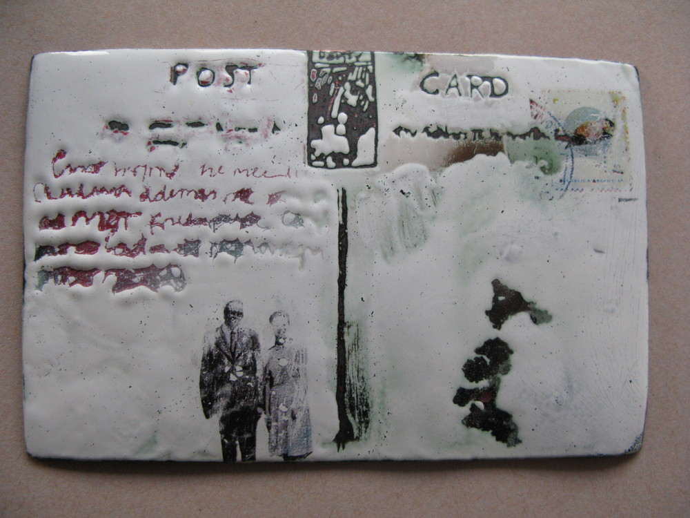 'Postcards from nowhere'   Enamel , old postcards transfers on copper plates